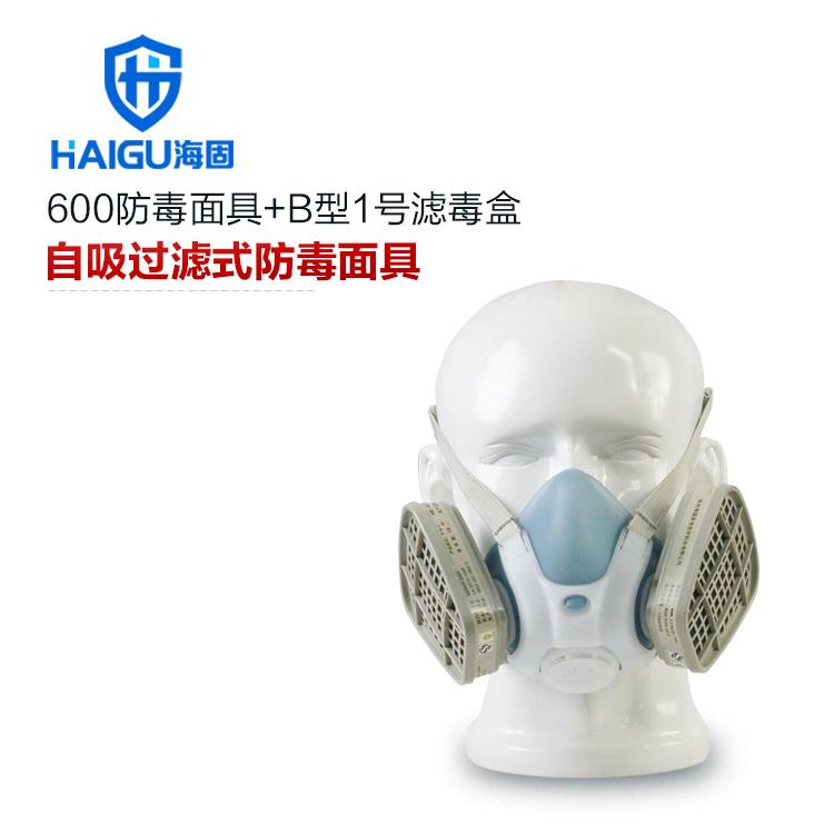 综合防无机气体防毒口罩套装-海固600半面罩+B型