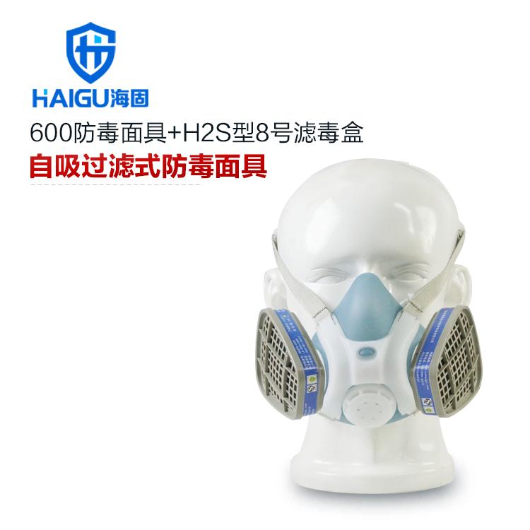 硫化氢气体防毒口罩套装-海固600半面罩+H2S型8号