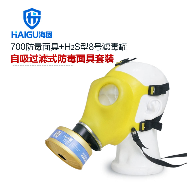 海固700防毒口罩+H2S型8号滤毒罐-硫化氢氨气防毒